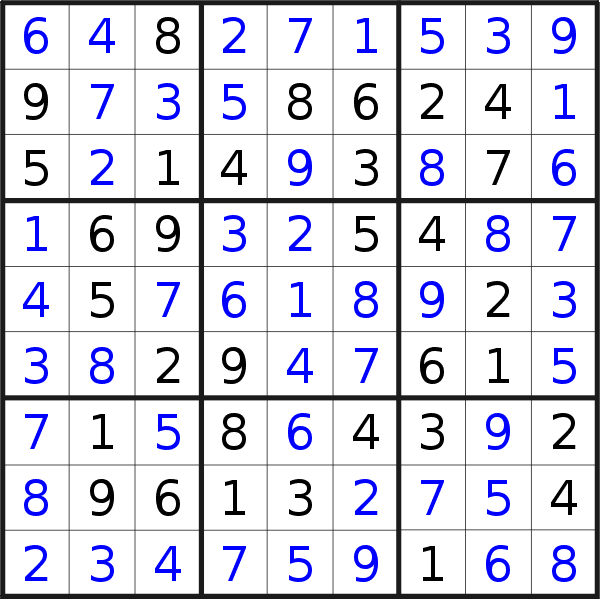 Sudoku solution for puzzle published on Saturday, 7th of September 2019