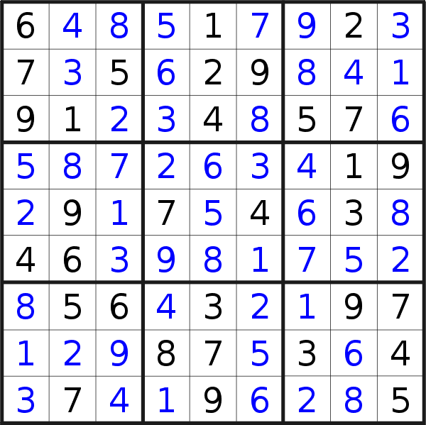 Sudoku solution for puzzle published on Tuesday, 10th of September 2019