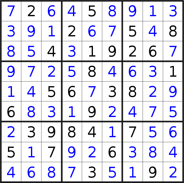 Sudoku solution for puzzle published on Saturday, 12th of October 2019