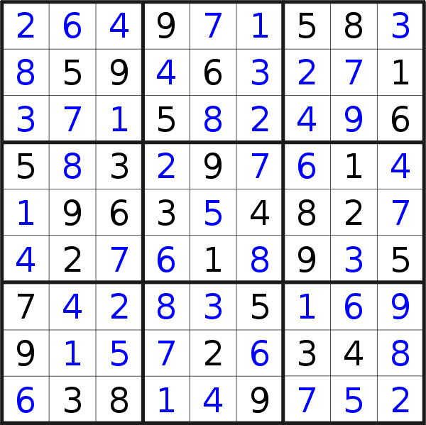 Sudoku solution for puzzle published on Sunday, 13th of October 2019