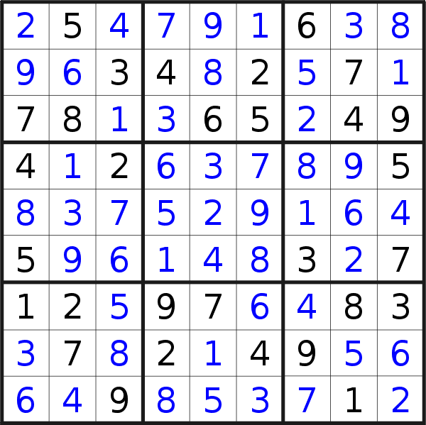 Sudoku solution for puzzle published on Monday, 14th of October 2019