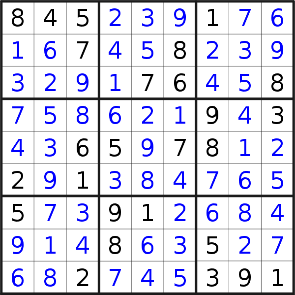 Sudoku solution for puzzle published on Wednesday, 23rd of October 2019