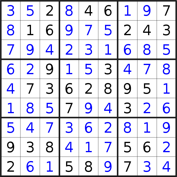 Sudoku solution for puzzle published on Thursday, 24th of October 2019
