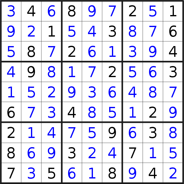 Sudoku solution for puzzle published on Friday, 25th of October 2019