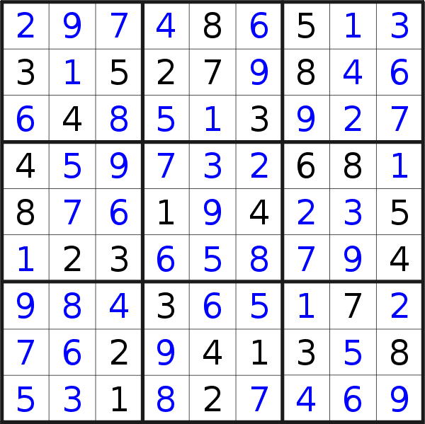 Sudoku solution for puzzle published on Monday, 28th of October 2019