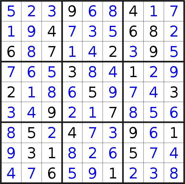 Sudoku solution for puzzle published on Wednesday, 30th of October 2019