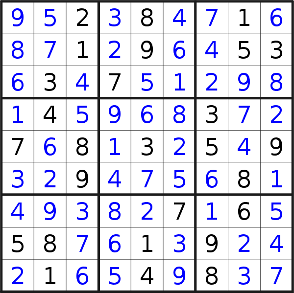 Sudoku solution for puzzle published on Sunday, 3rd of November 2019