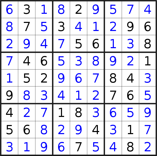 Sudoku solution for puzzle published on Tuesday, 5th of November 2019