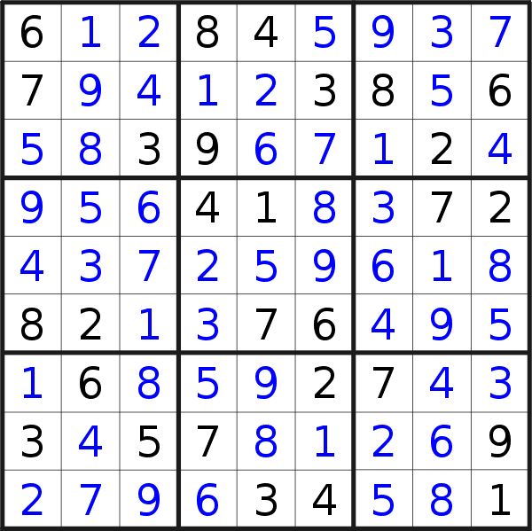 Sudoku solution for puzzle published on Wednesday, 6th of November 2019