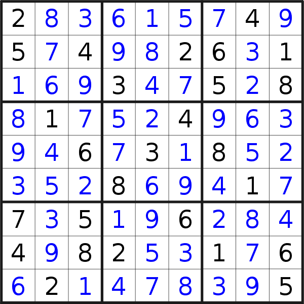 Sudoku solution for puzzle published on Saturday, 9th of November 2019