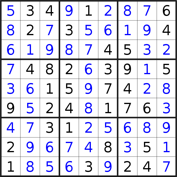 Sudoku solution for puzzle published on Monday, 11th of November 2019
