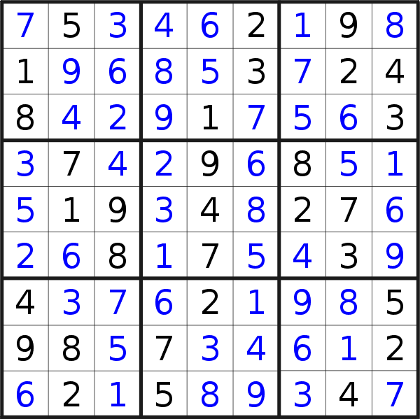 Sudoku solution for puzzle published on Friday, 15th of November 2019