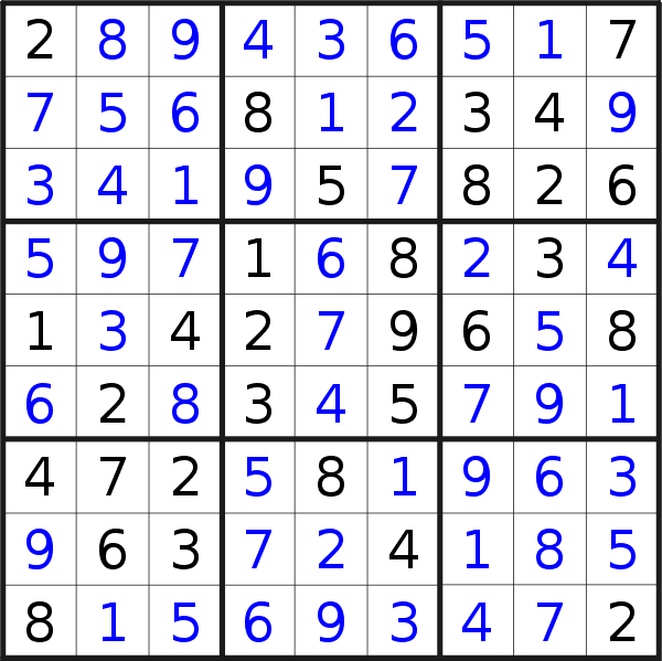 Sudoku solution for puzzle published on Thursday, 21st of November 2019
