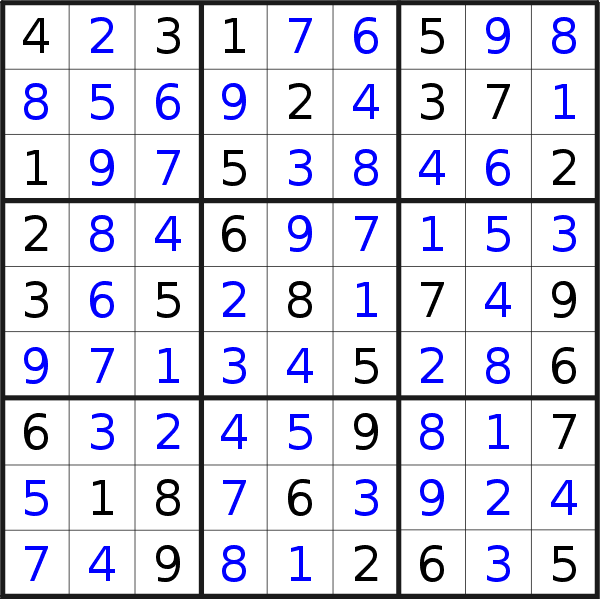 Sudoku solution for puzzle published on Friday, 22nd of November 2019