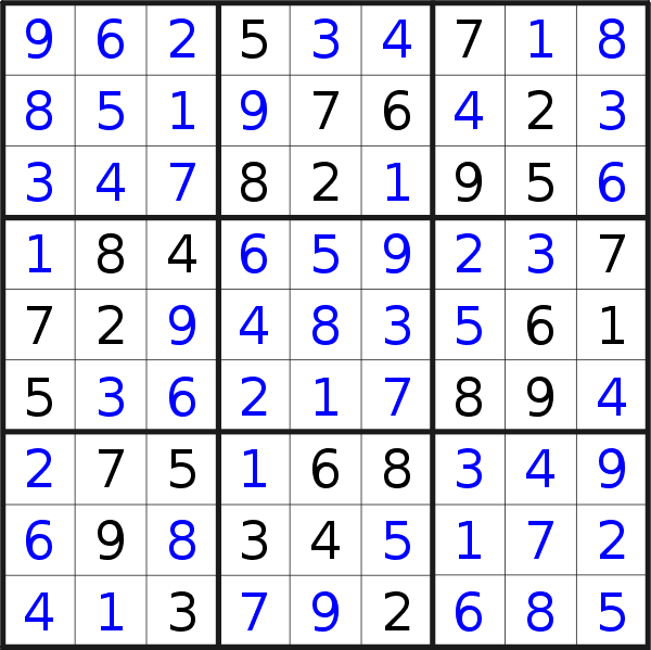 Sudoku solution for puzzle published on Wednesday, 27th of November 2019