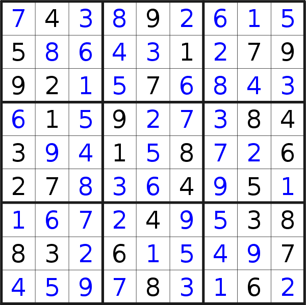 Sudoku solution for puzzle published on Sunday, 1st of December 2019