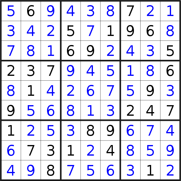 Sudoku solution for puzzle published on Saturday, 11th of January 2020