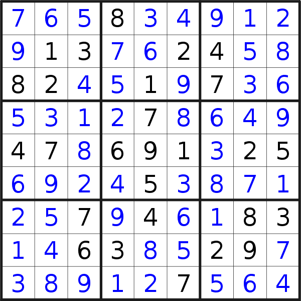 Sudoku solution for puzzle published on Monday, 13th of January 2020