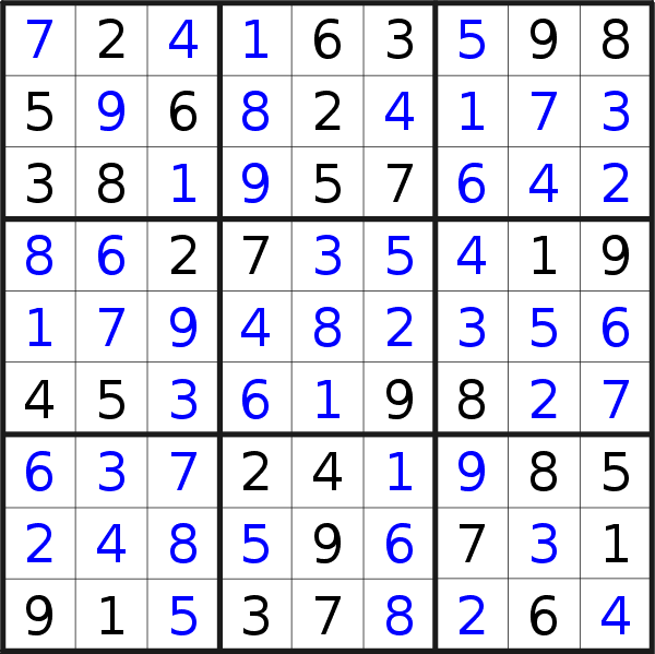 Sudoku solution for puzzle published on Sunday, 26th of January 2020