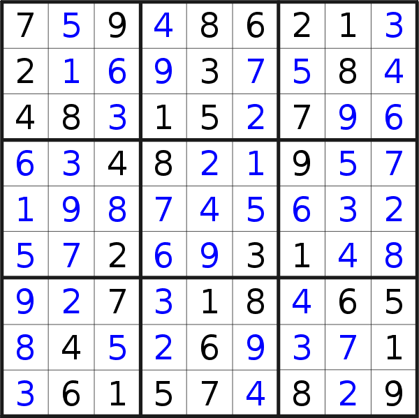Sudoku solution for puzzle published on Wednesday, 12th of February 2020