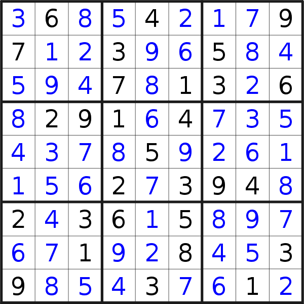 Sudoku solution for puzzle published on Sunday, 23rd of February 2020