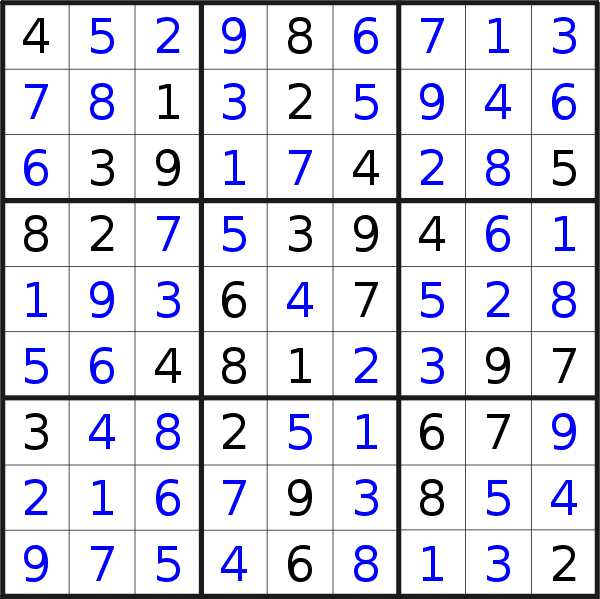 Sudoku solution for puzzle published on Monday, 18th of May 2020