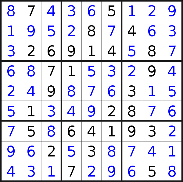Sudoku solution for puzzle published on Thursday, 21st of May 2020