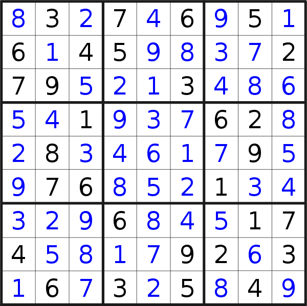 Sudoku solution for puzzle published on Saturday, 23rd of May 2020