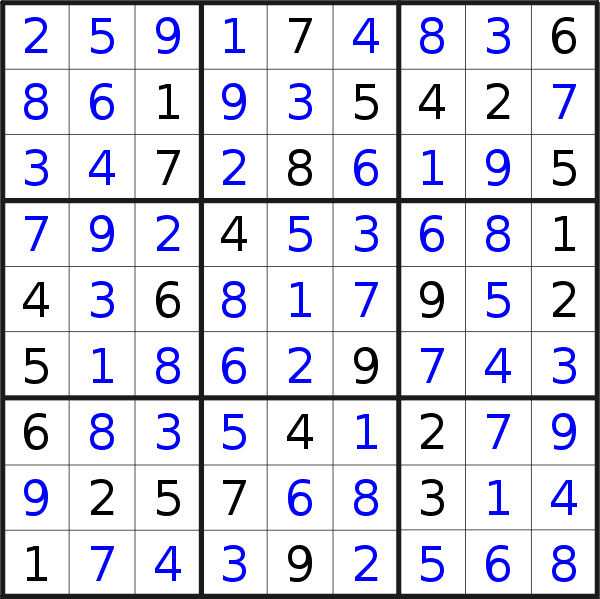 Sudoku solution for puzzle published on Thursday, 4th of June 2020