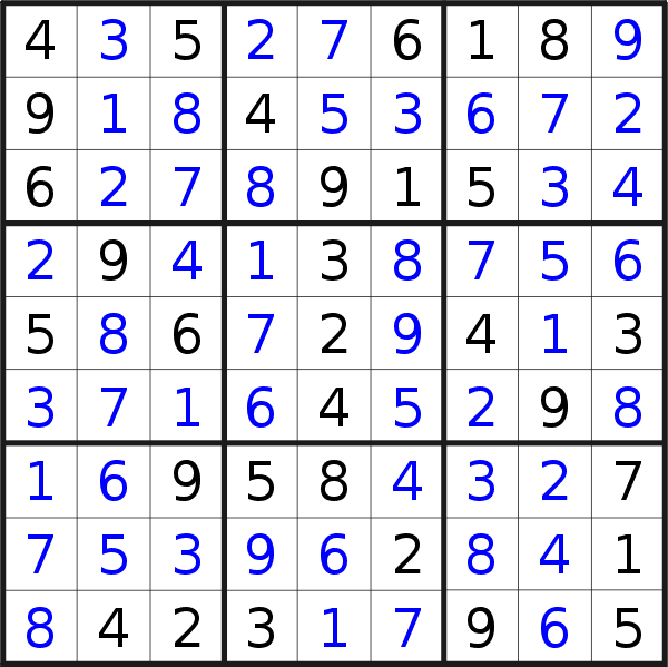 Sudoku solution for puzzle published on Friday, 19th of June 2020