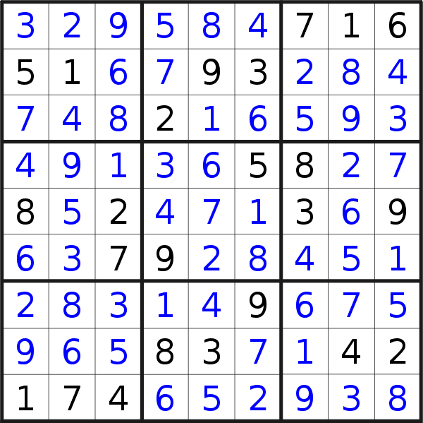 Sudoku solution for puzzle published on Friday, 26th of June 2020
