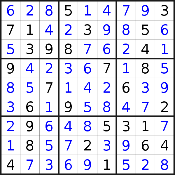 Sudoku solution for puzzle published on Sunday, 28th of June 2020