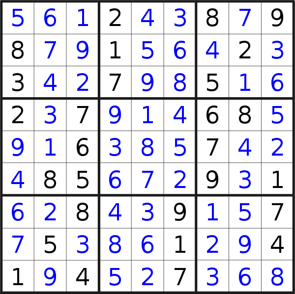 Sudoku solution for puzzle published on Monday, 13th of July 2020