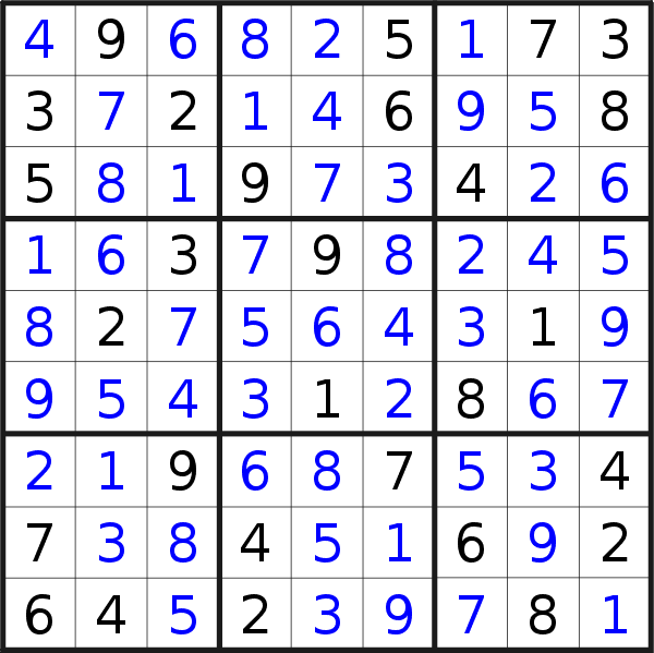 Sudoku solution for puzzle published on Monday, 27th of July 2020