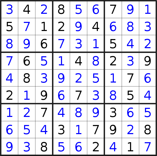 Sudoku solution for puzzle published on Tuesday, 28th of July 2020