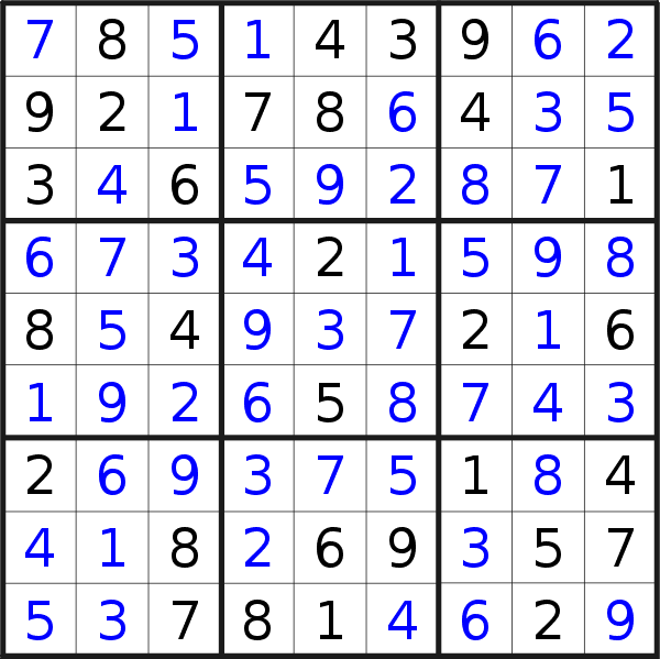 Sudoku solution for puzzle published on Friday, 7th of August 2020