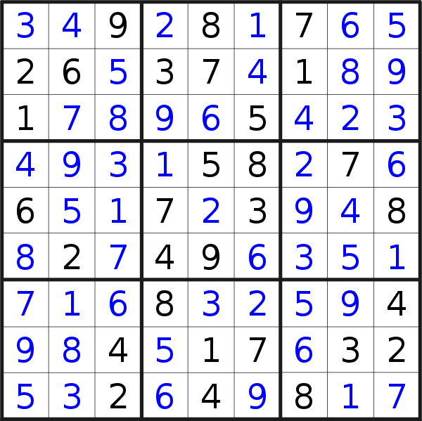 Sudoku solution for puzzle published on Sunday, 23rd of August 2020