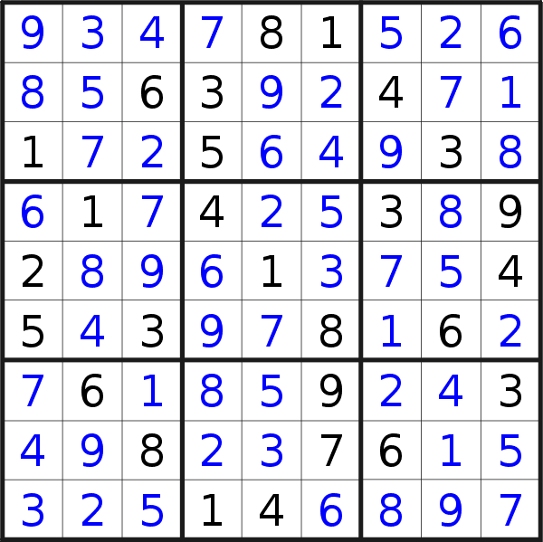 Sudoku solution for puzzle published on Friday, 16th of October 2020