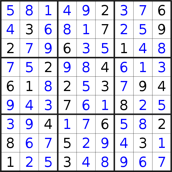 Sudoku solution for puzzle published on Monday, 26th of October 2020