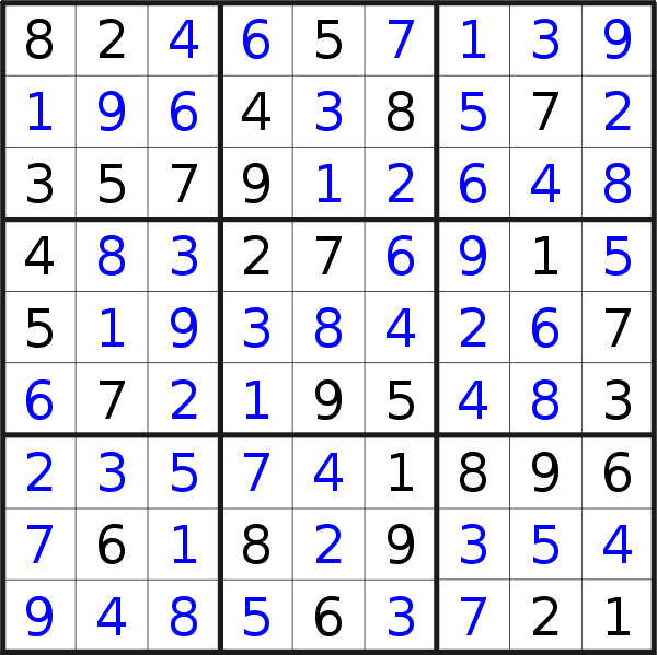 Sudoku solution for puzzle published on Monday, 16th of November 2020