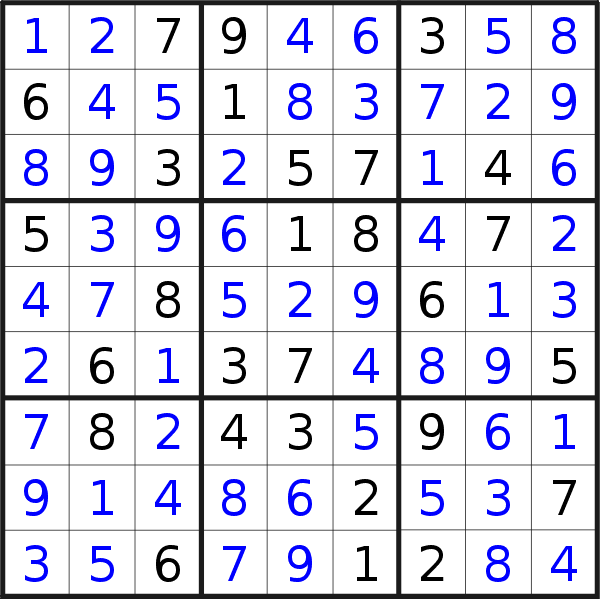 Sudoku solution for puzzle published on Sunday, 29th of November 2020