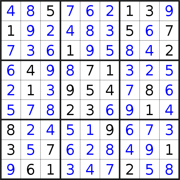 Sudoku solution for puzzle published on Friday, 18th of December 2020