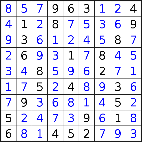 Sudoku solution for puzzle published on Monday, 21st of December 2020