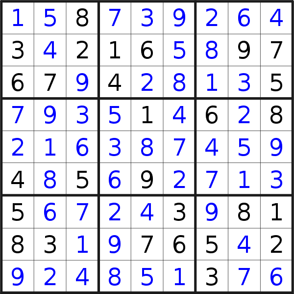 Sudoku solution for puzzle published on Friday, 1st of January 2021
