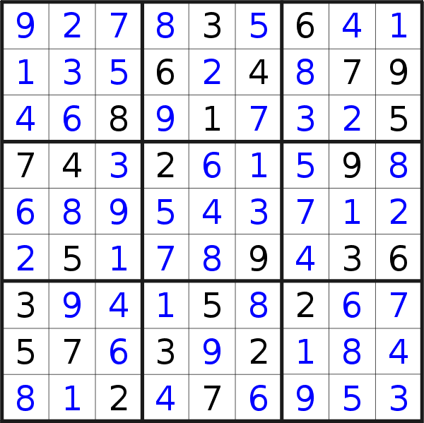Sudoku solution for puzzle published on Wednesday, 6th of January 2021