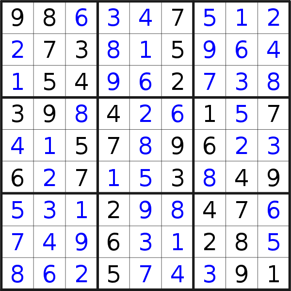 Sudoku solution for puzzle published on Saturday, 9th of January 2021
