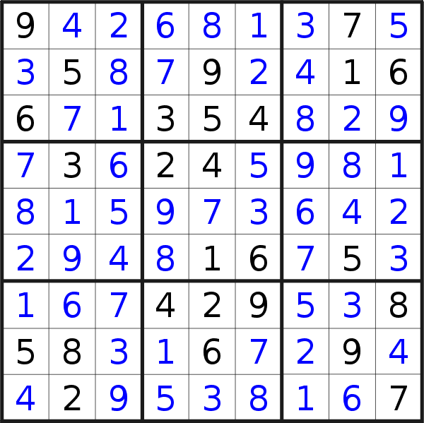 Sudoku solution for puzzle published on Sunday, 21st of February 2021